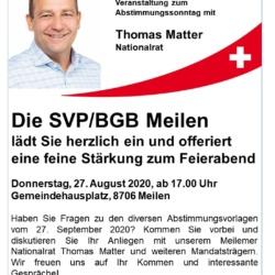 Wurst & Brot mit Thomas Matter, 27.08.2020